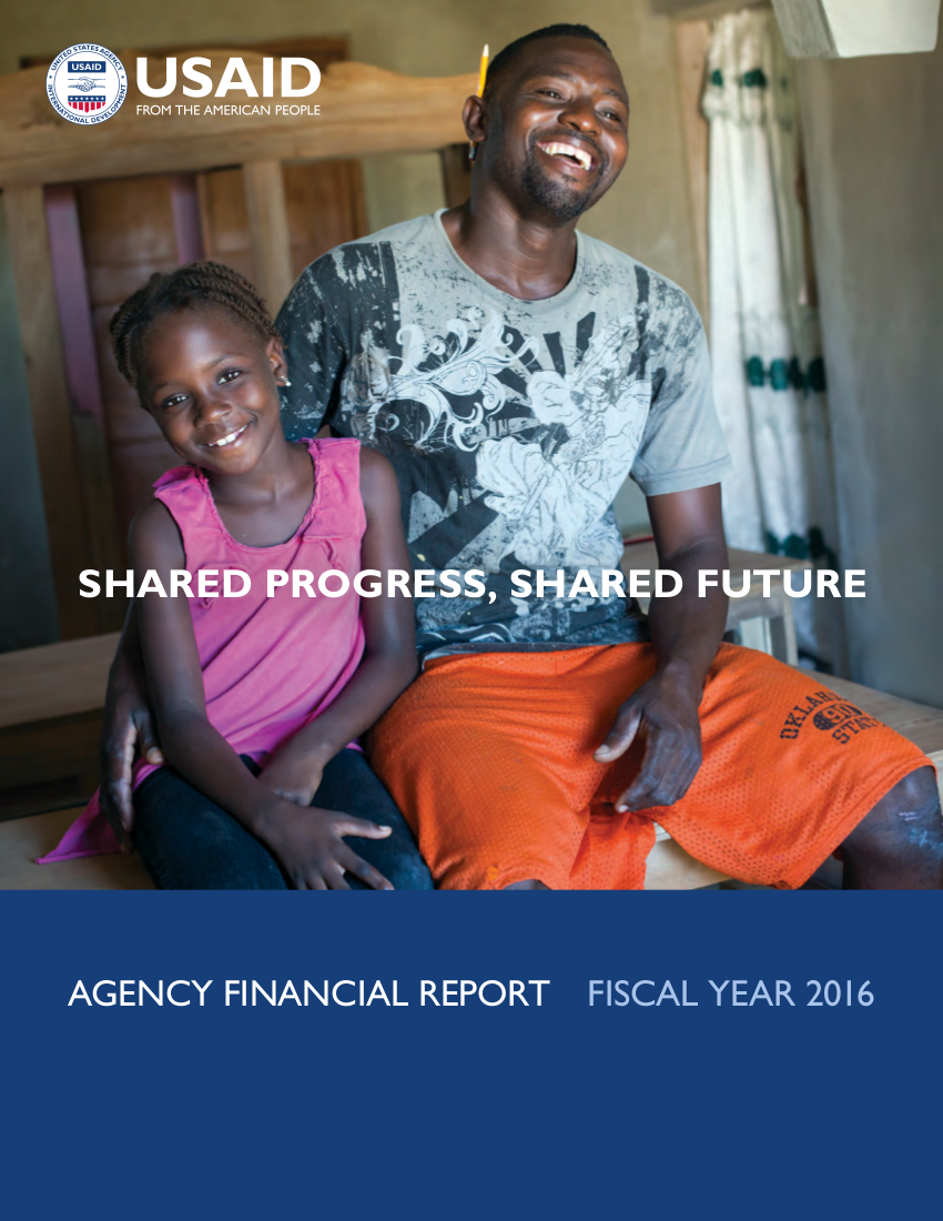 FY 2016 Agency Financial Report: Shared Progress, Shared Future