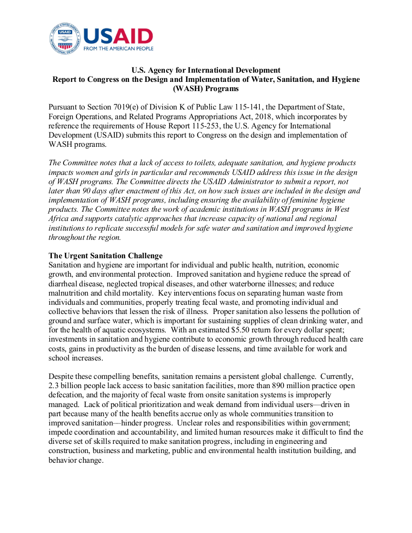 Report to Congress on the Design and Implementation of Water, Sanitation, and Hygiene (WASH) Programs - 2018