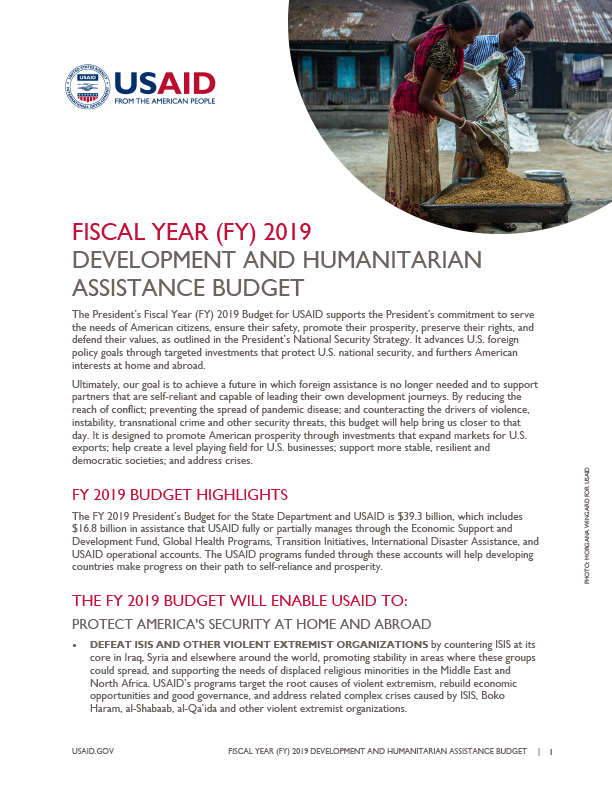 Fact Sheet: Fiscal Year (FY) 2019 Development and Humanitarian Assistance Budget