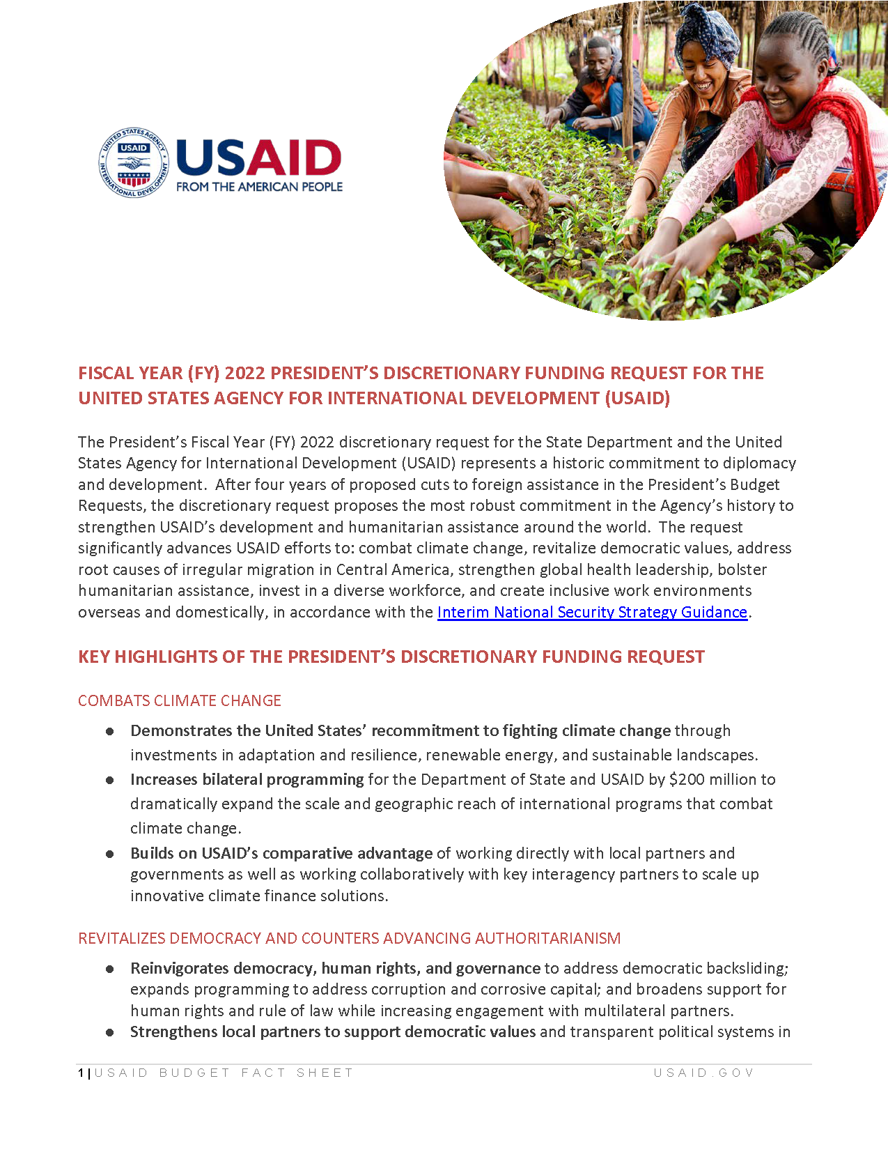 Fiscal Year 2022 President's Discretionary Funding Request for the United States Agency for International Development (USAID)