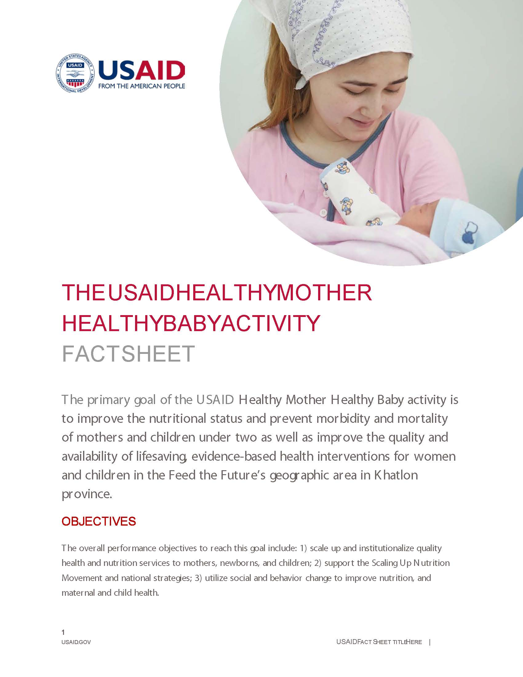 USAID Healthy Mother, Healthy Baby Activity