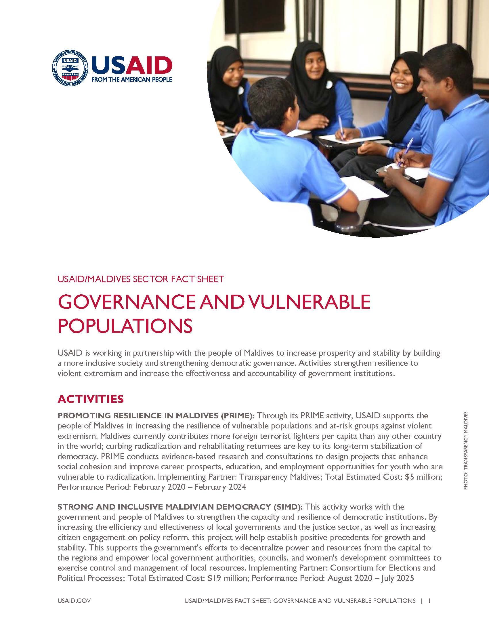 USAID/Maldives Fact Sheet: Governance and Vulnerable Populations