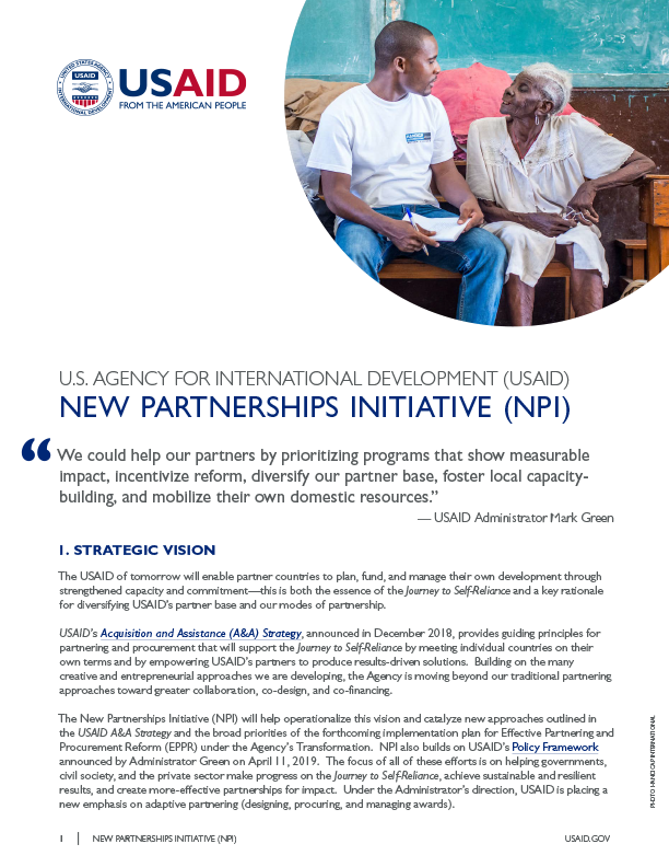 Fact Sheet: New Partnerships Initiative