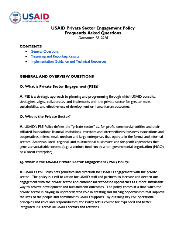 USAID Private Sector Engagement Policy Frequently Asked Questions