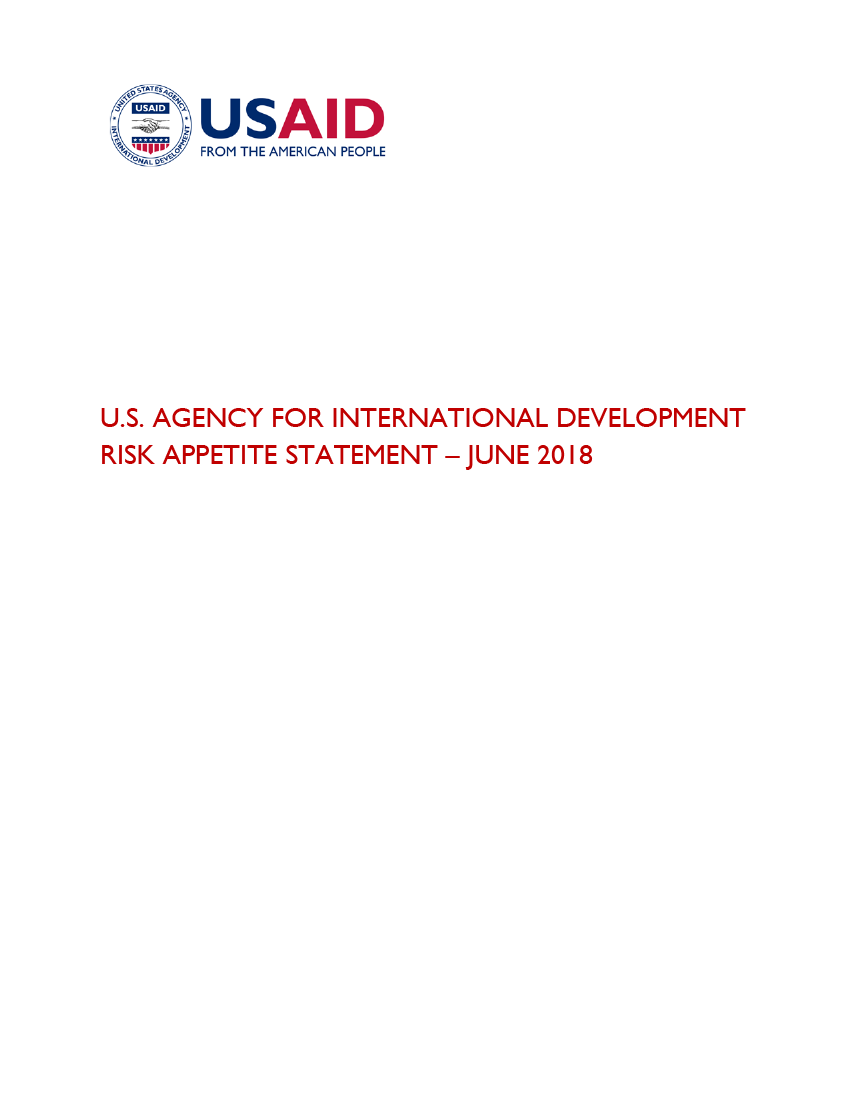 USAID Risk-Appetite Statement - June 2018  (Click to download PDF)