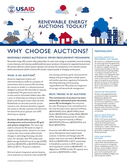 Renewable Energy Auctions Toolkit: Why Choose Auctions?