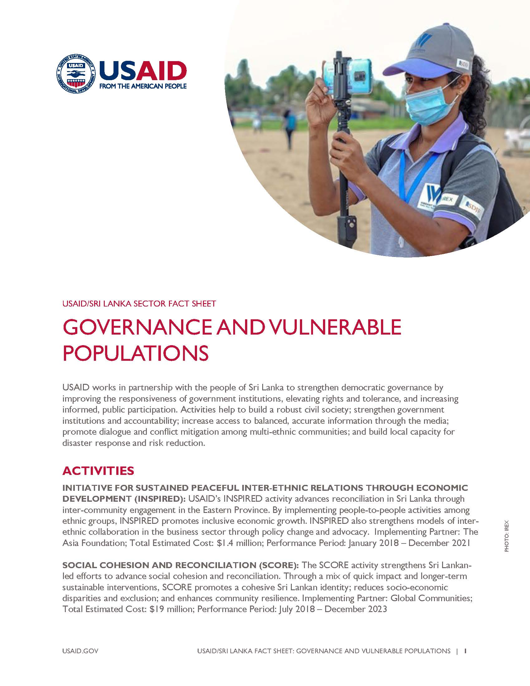 USAID/Sri Lanka Fact Sheet: Governance and Vulnerable Populations