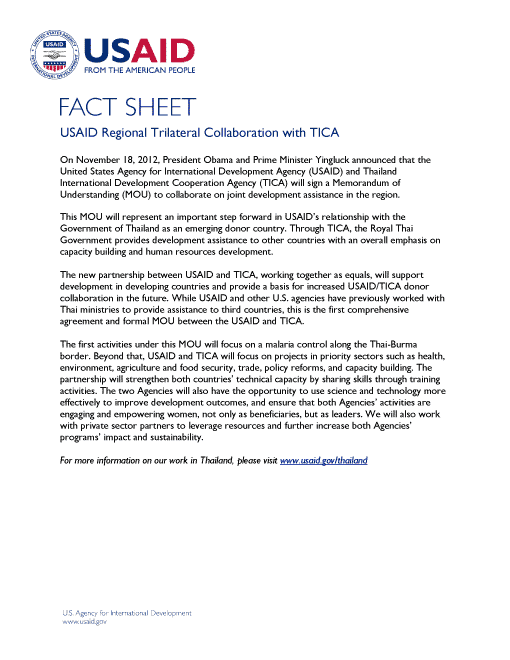 Fact Sheet: USAID Regional Trilateral Collaboration with TICA