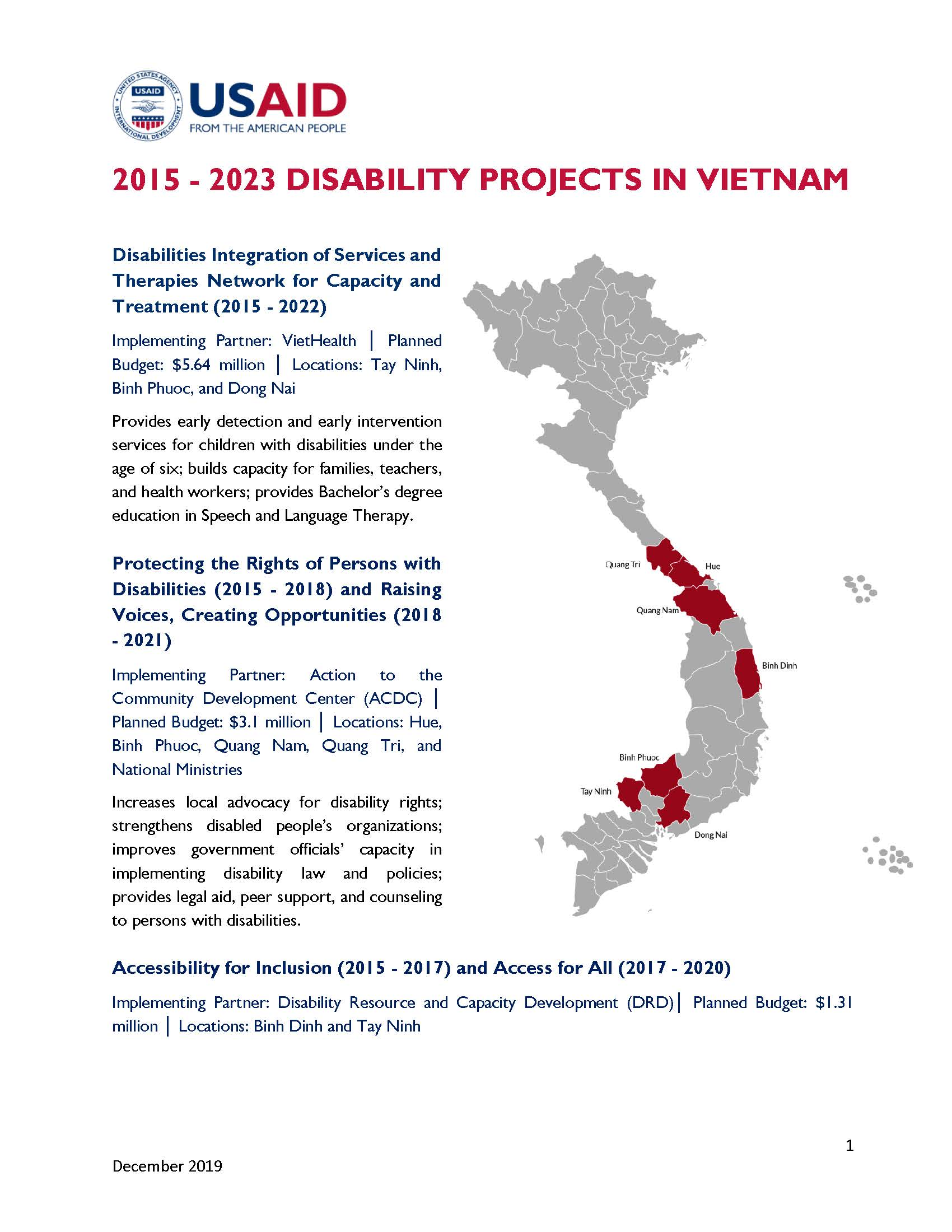 Fact sheet: 2015 - 2023 disability projects in Vietnam