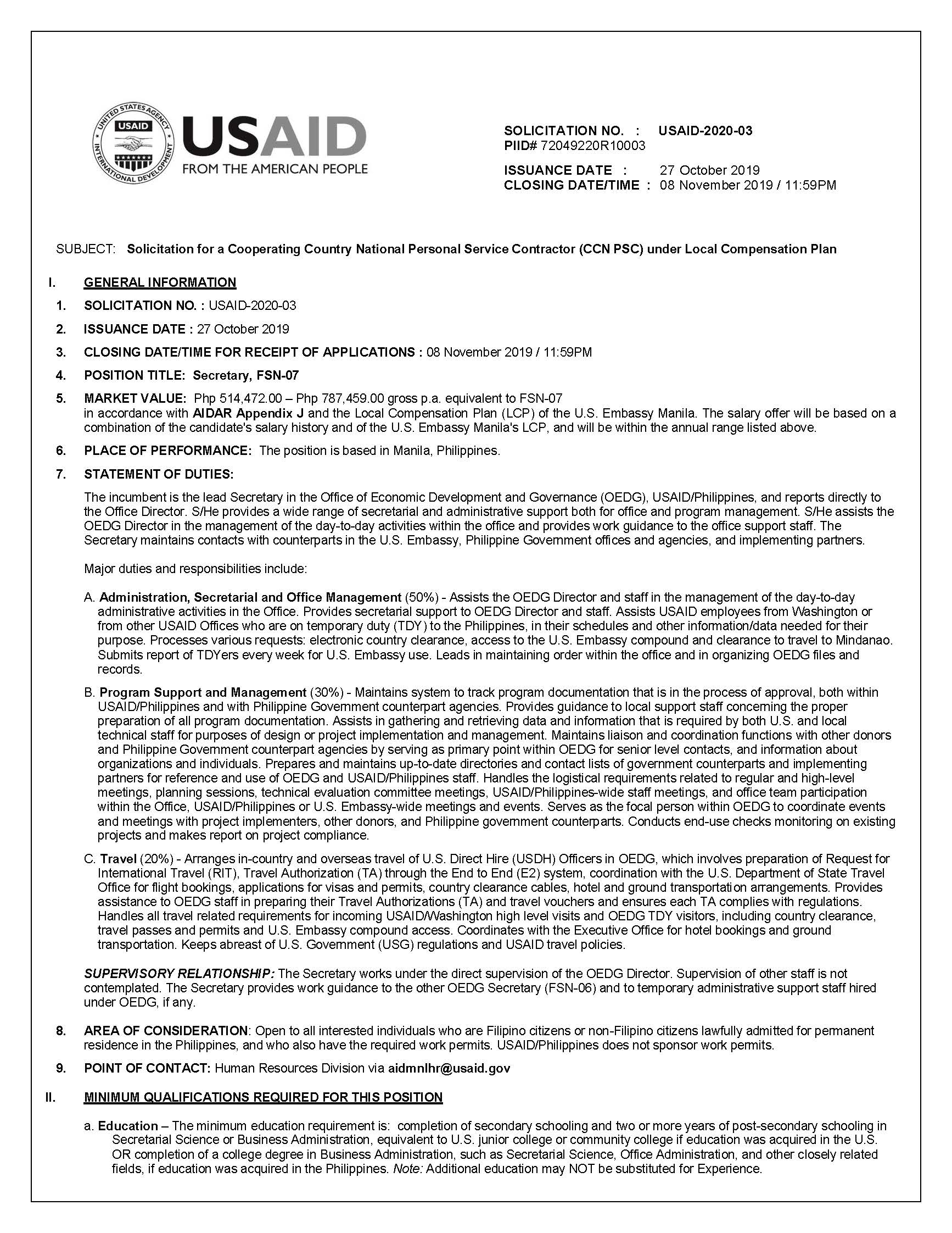 Solicitation No. USAID-2020-03: Secretary, FSN-07