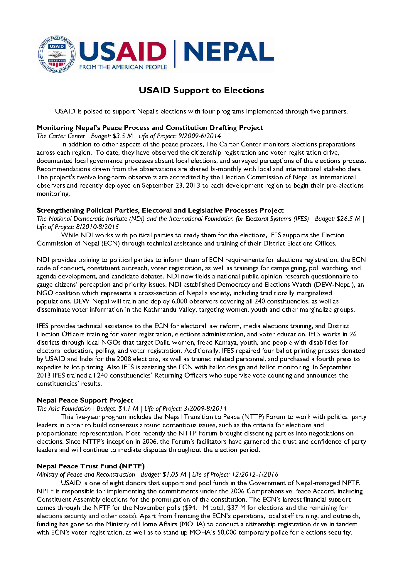 USAID Support Nepal's Elections