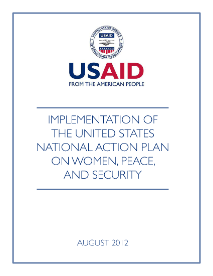 USAID Implementation of the U.S. National Action Plan on Women, Peace, and Security