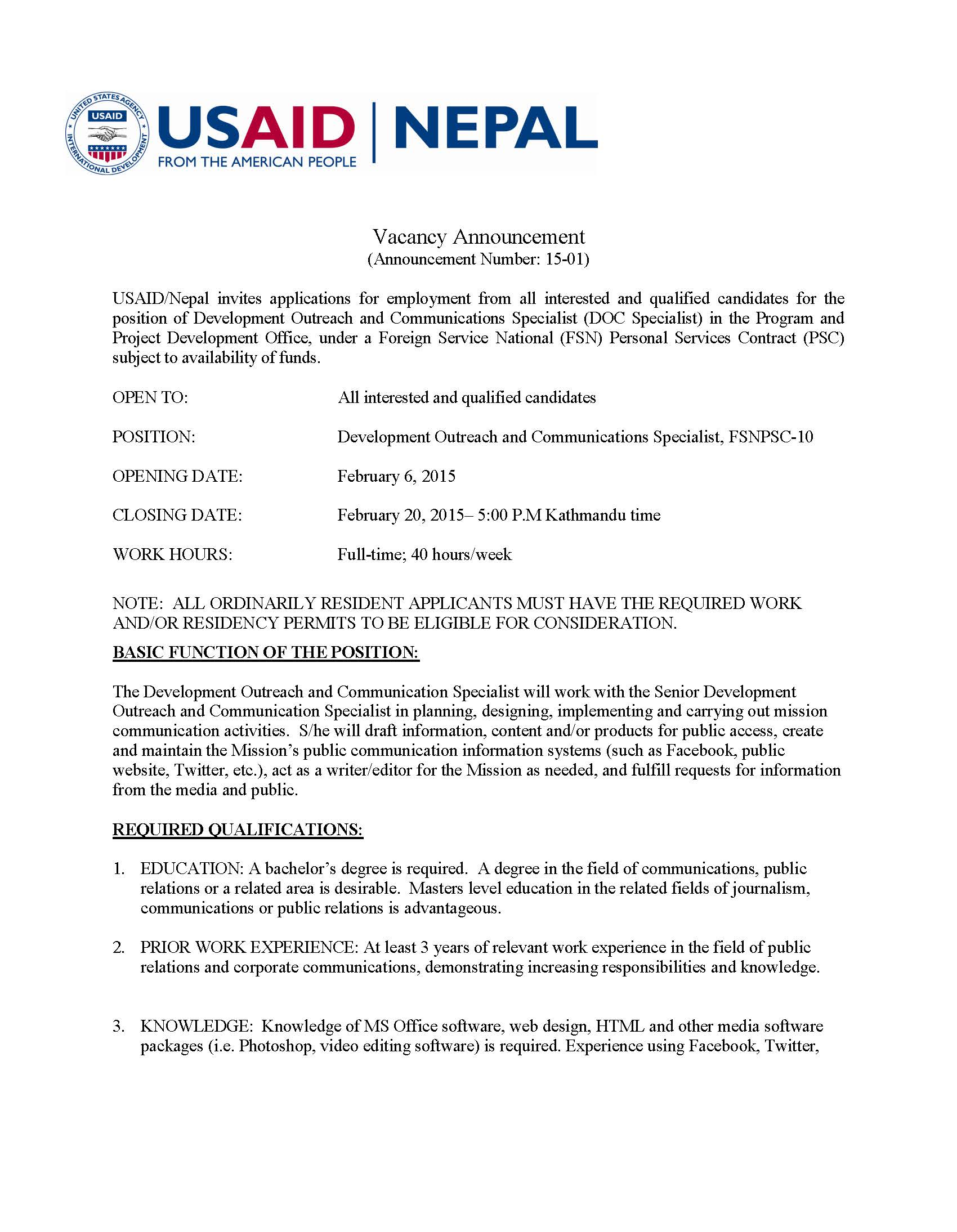 Vacancy announcement development outreach and for Usaid cv template