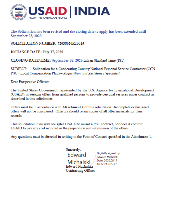 Revised Vacancy Announcement: Acquisition and Assistance Specialist, USAID/India