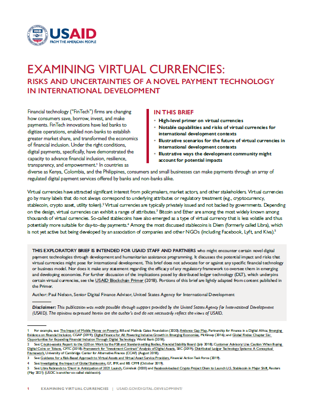 Examining Virtual Currencies: Risks and Uncertainties of a Novel Payment Technology in International Development