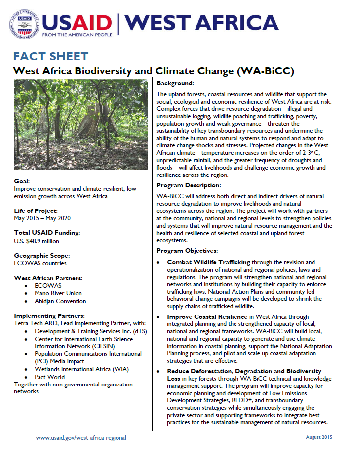 Fact Sheet on West Africa Biodiversity and Climate Change (WA-BiCC)