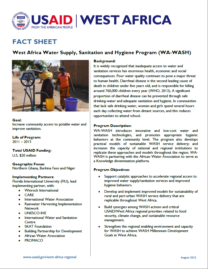 Fact Sheet on the West Africa Water Supply, Sanitation and Hygiene Program (WA-WASH)
