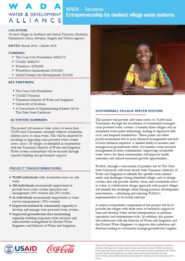 Water and Development Alliance (WADA) Tanzania: Entrepreneurship for Resilient Village Water Systems Fact Sheet