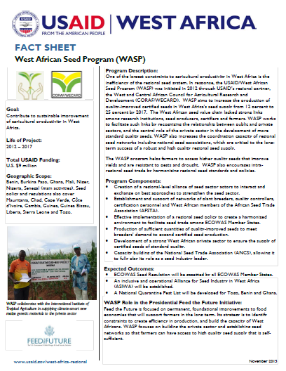 Fact Sheet on the West Africa Seed Program (WASP)