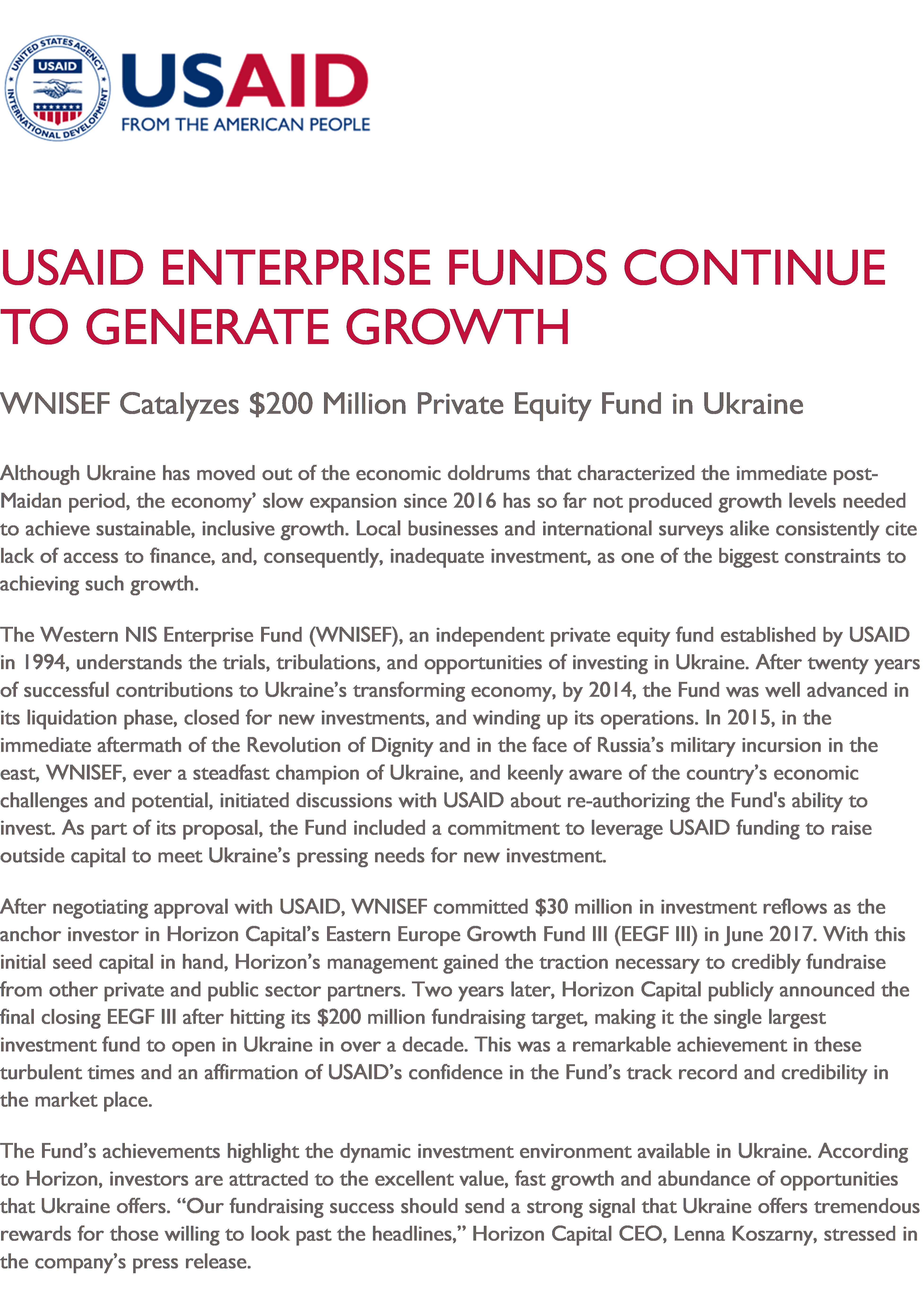 USAID Enterprise Fund Continues To Generate Growth: WNISEF Catalyzes $200 Million Private Equity Fund in Ukraine