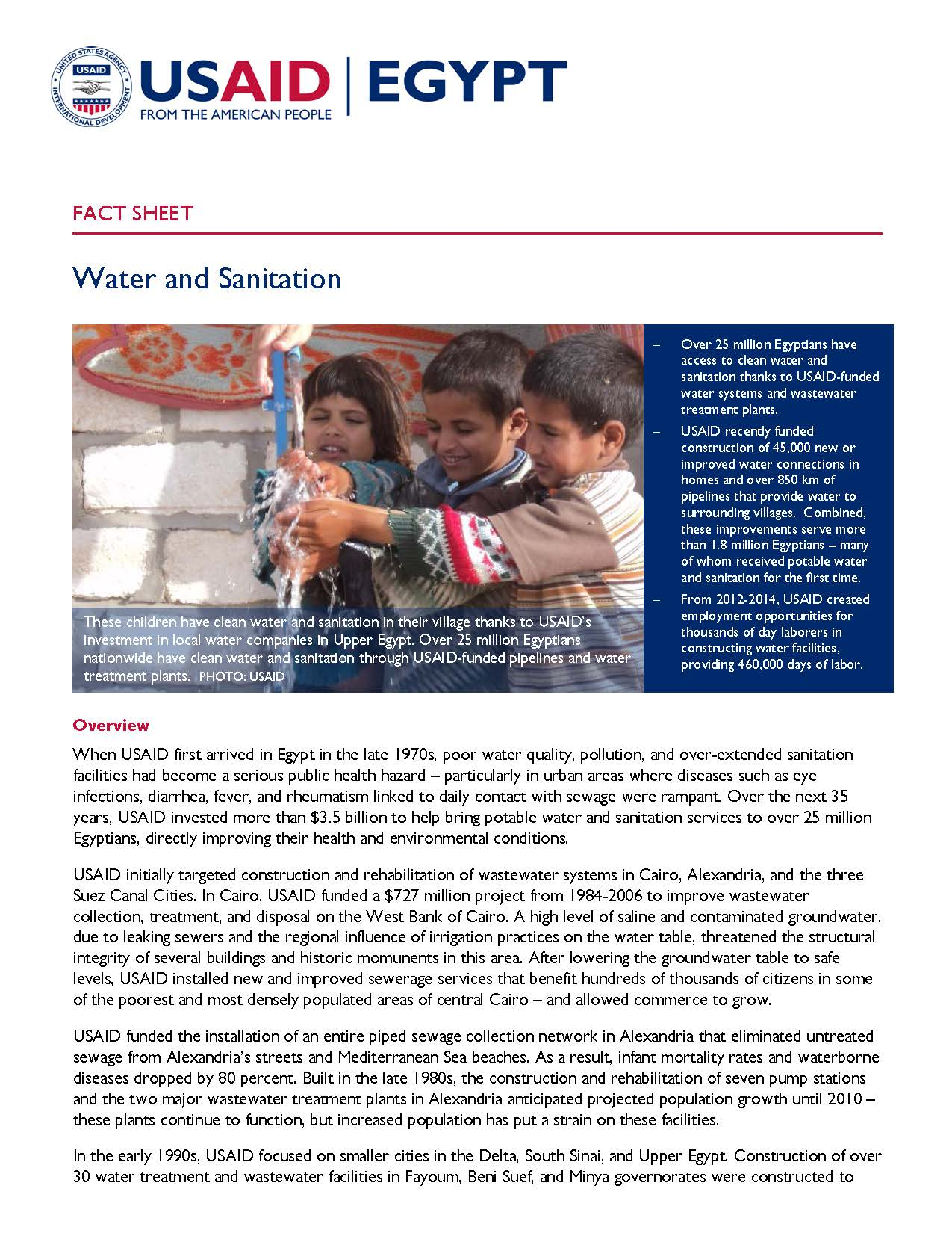 USAID/Egypt Water and Sanitation Fact Sheet