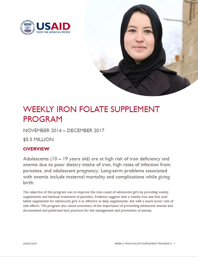 Weekly Iron Folate Supplement Program