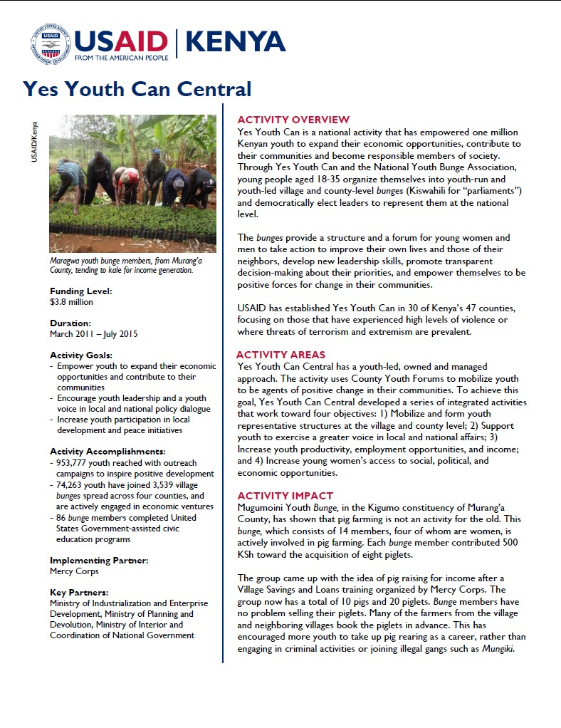 Yes Youth Can Central Fact Sheet.September 2014