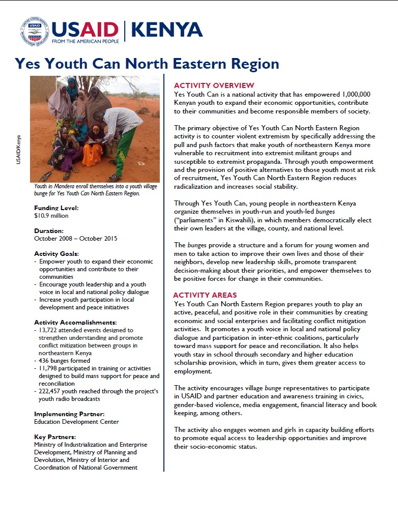 Yes Youth Can North Eastern Province Fact Sheet.September 2014