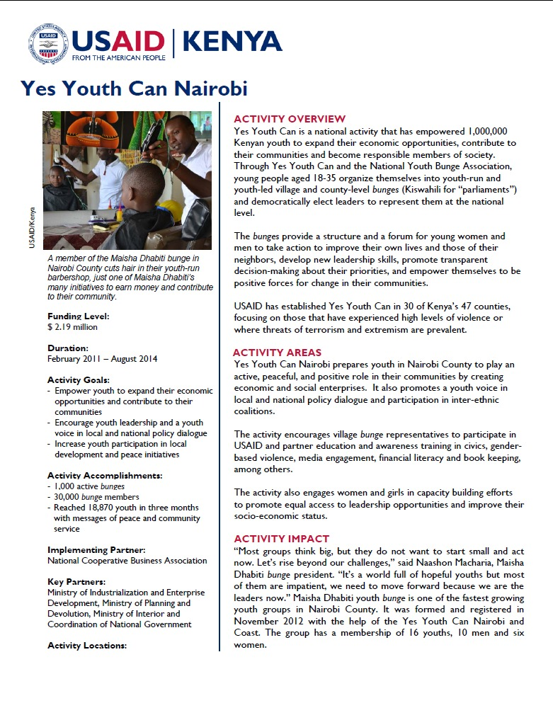 Yes Youth Can Nairobi Fact Sheet.June 2014