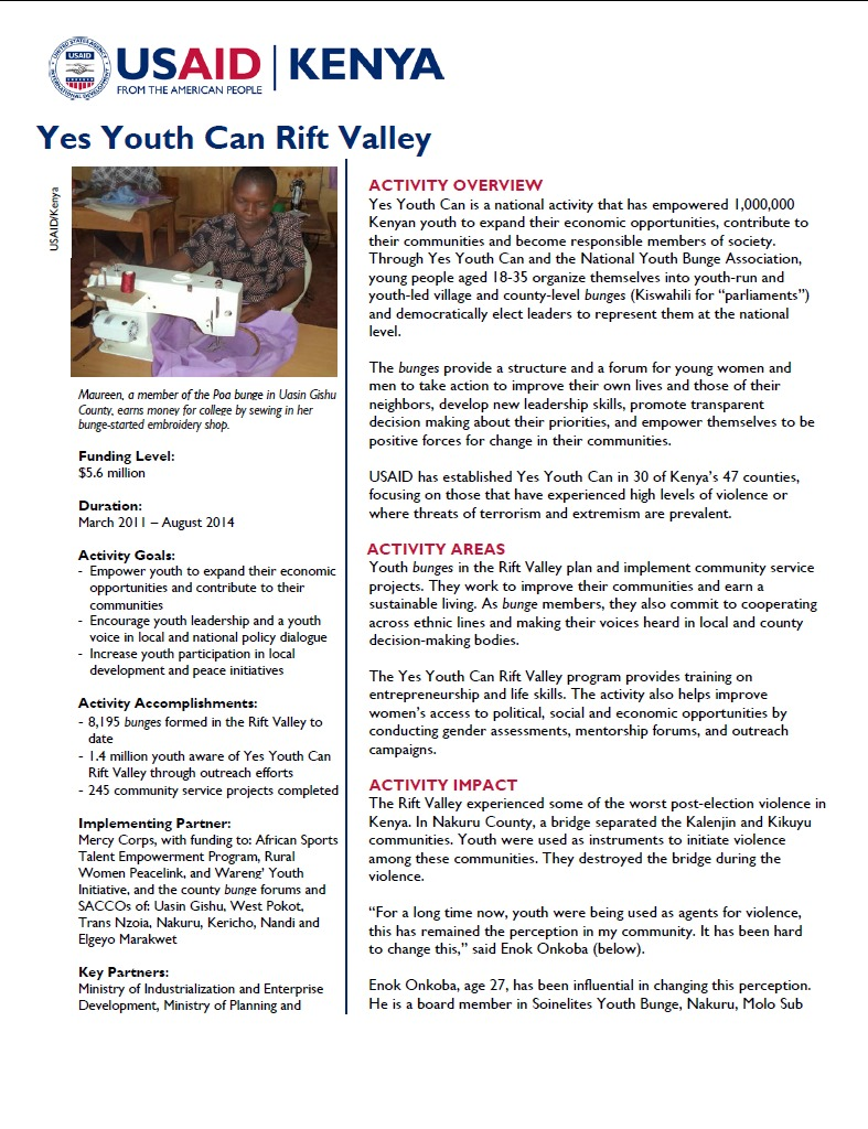 Yes Youth Can Rift Valley Fact Sheet.June 2014