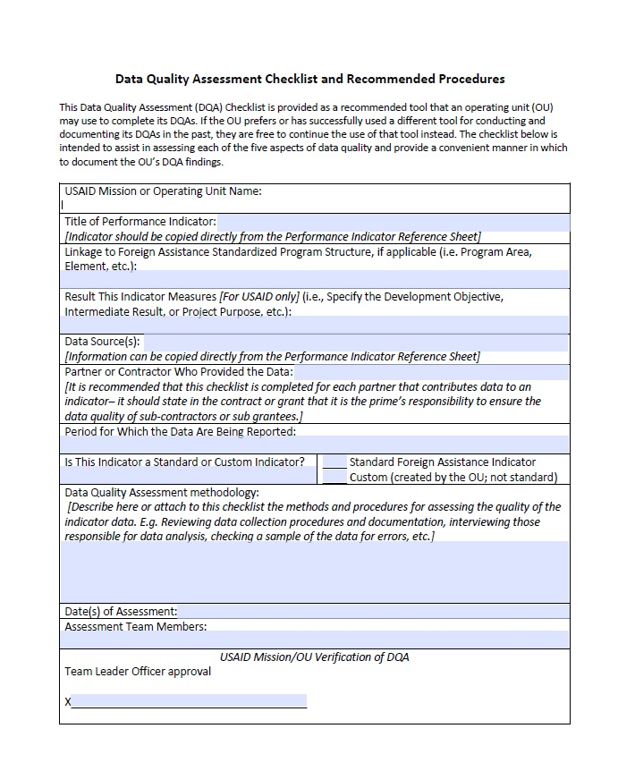 Data Quality Assessment Checklist and Recommended Procedures