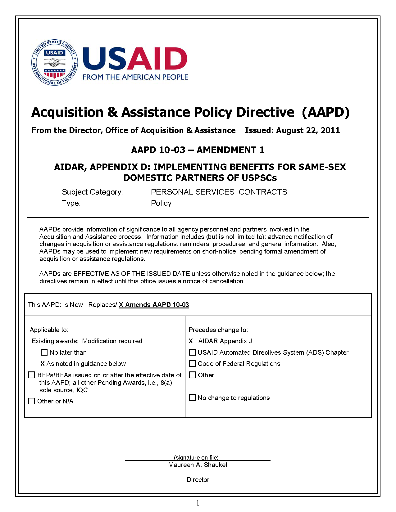 AAPD 10-03 Amendment 1