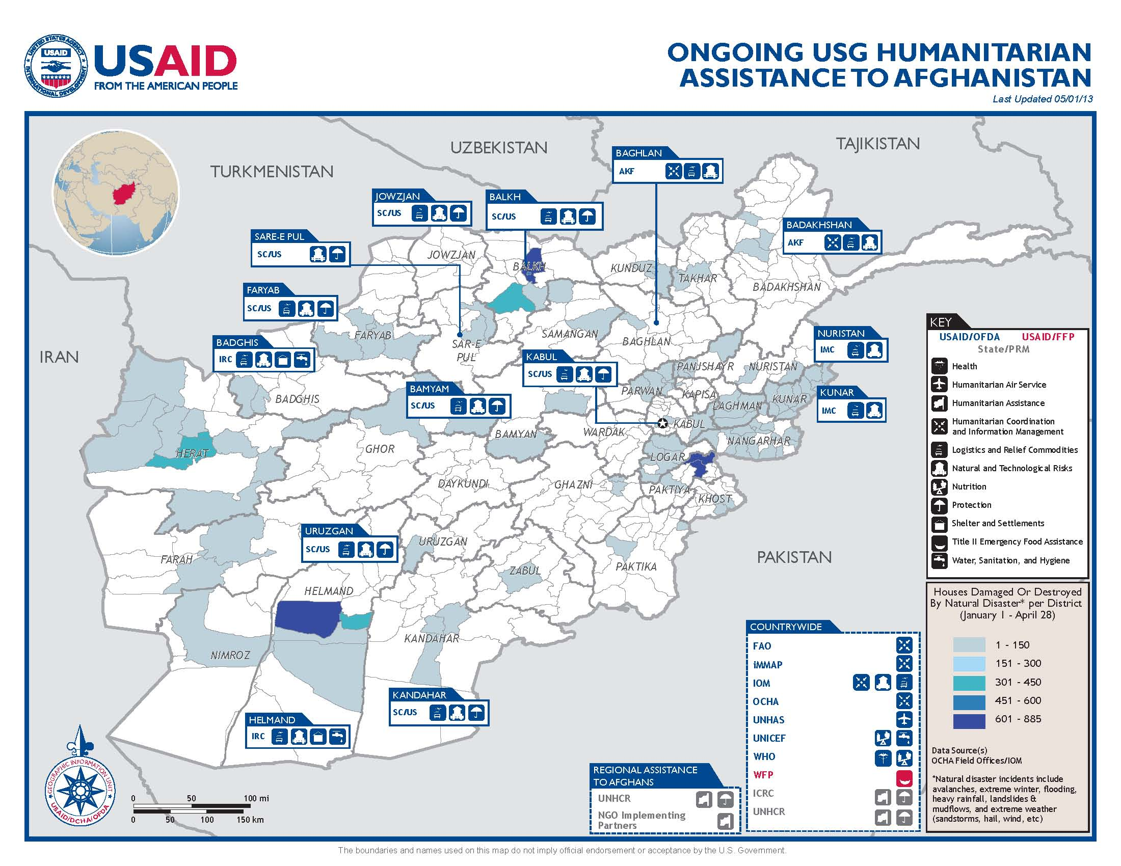usg humanitarian istance to afghanistan program map 05 01 2013