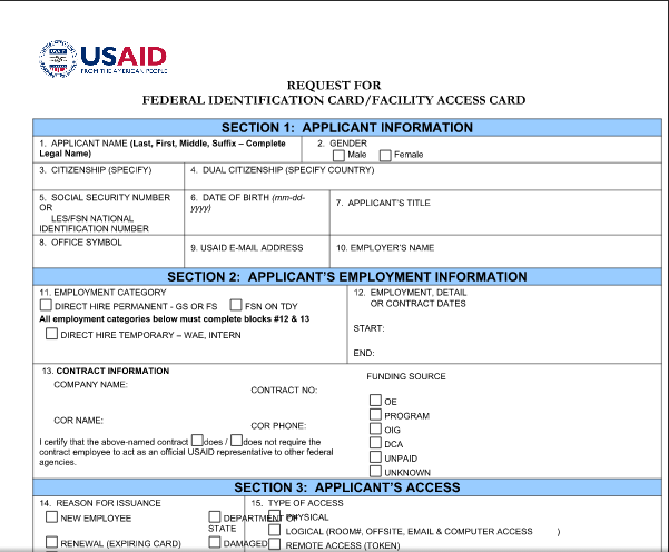 AID 500-1 (Request for Federal Identification Card/Facility Access Card)