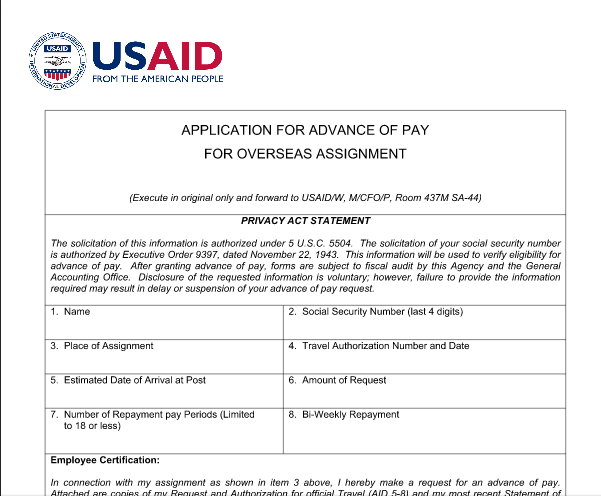 AID 760-42 (Application for Advance of Pay for Overseas Assignment)