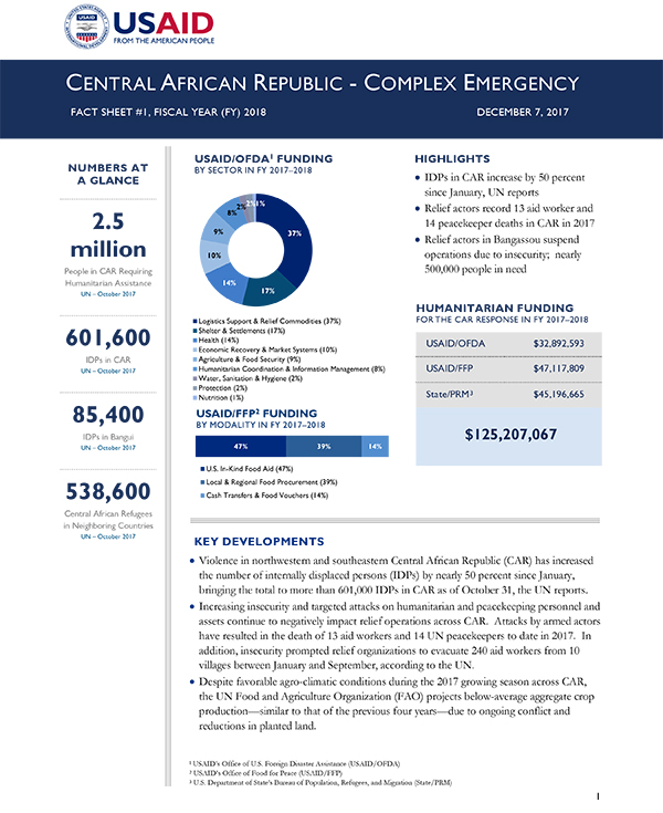 Central African Republic Complex Emergency Fact Sheet #1 - 12-07-2017