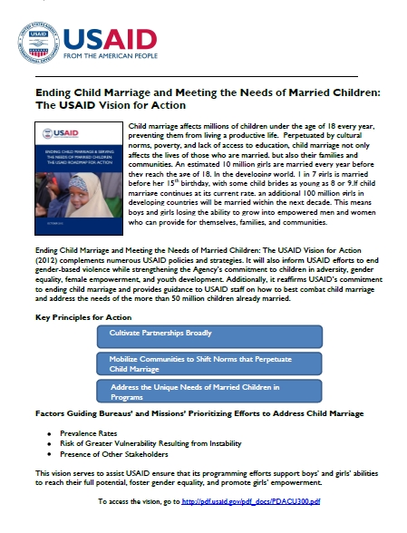 Fact Sheet on the USAID Vision for Action on Child Marriage