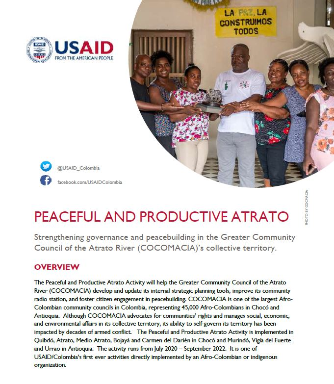 Peaceful and Productive Atrato Activity Fact Sheet