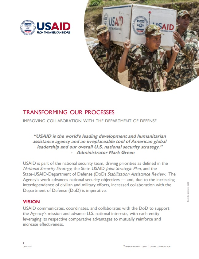 Fact Sheet: Improving Collaboration with the Department of Defense