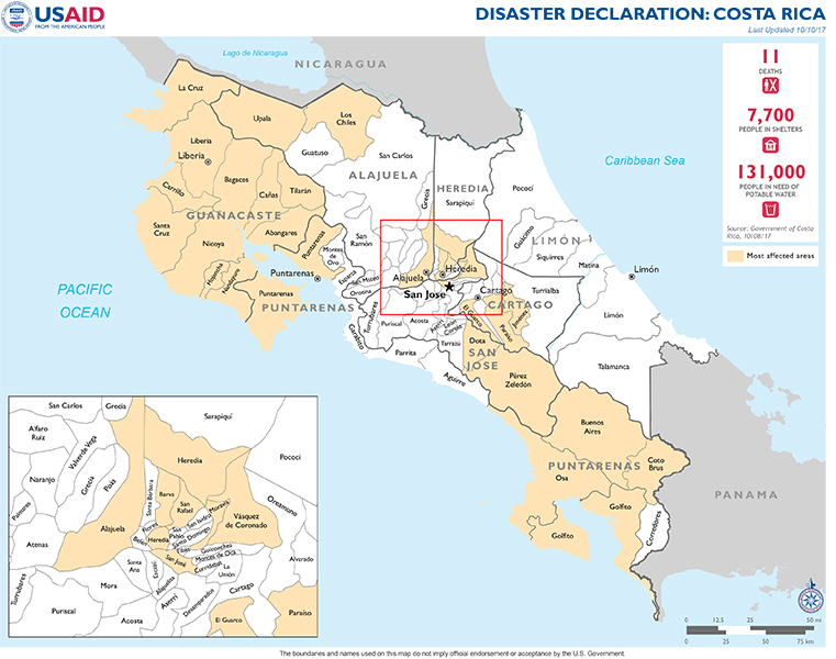 Costa Rica Disaster Assistance US Agency For International - Map of us and costa rica