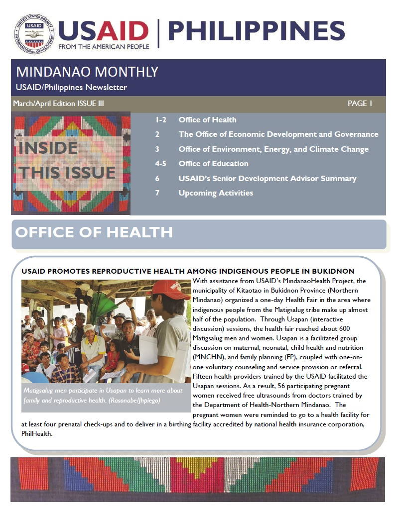 USAID/Philippines Mindanao Monthly Newsletter