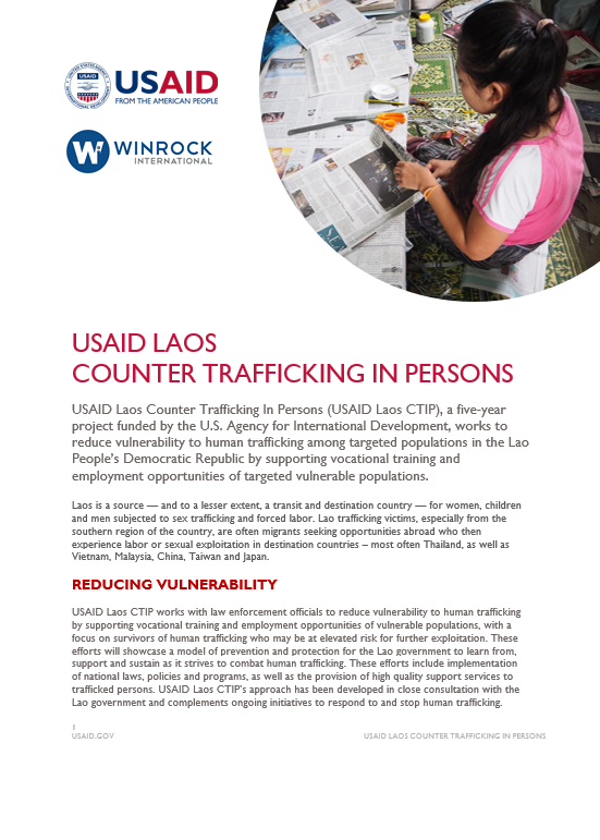 USAID Laos Counter Trafficking In Persons Fact Sheet