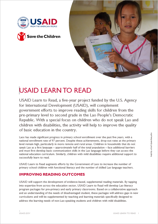 USAID Learn To Read | Fact Sheet | Laos | U S  Agency for