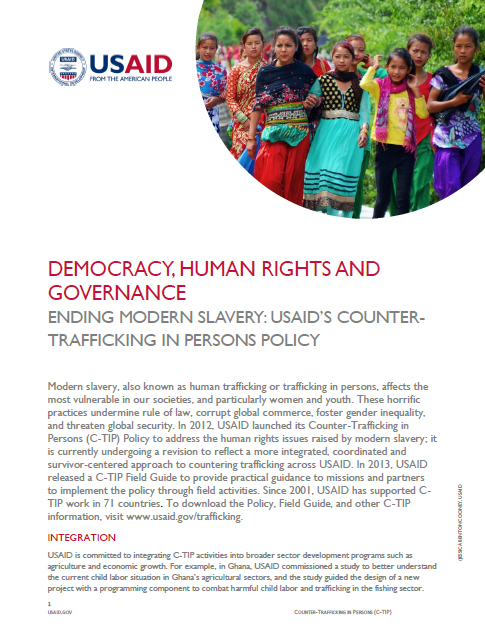 Ending Modern Slavery: USAID's Counter-trafficking in Persons Policy