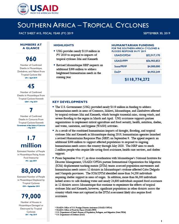 Southern Africa Tropical Cyclones Fact Sheet #15 - 09-30-2019