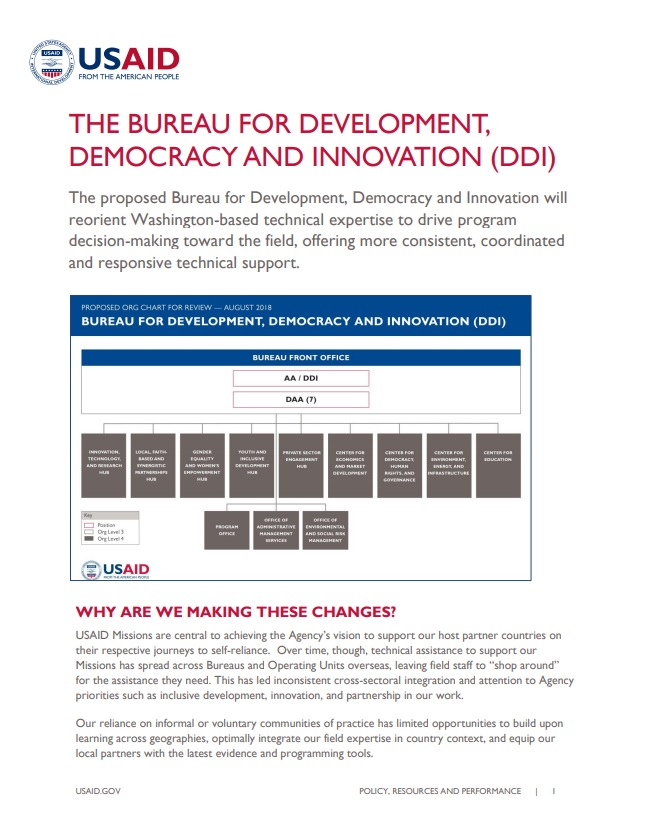 Fact Sheet: The Bureau for Development, Democracy, and Innovation (DDI)