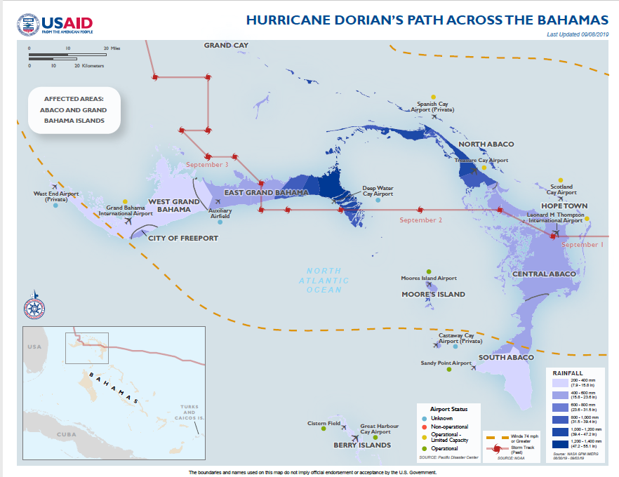 The Bahamas - Hurricane Dorian Map #4, (FY) 2019