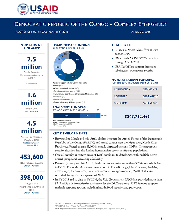 Democratic Republic of the Congo Complex Emergency Fact Sheet #2 - 04-26-2016