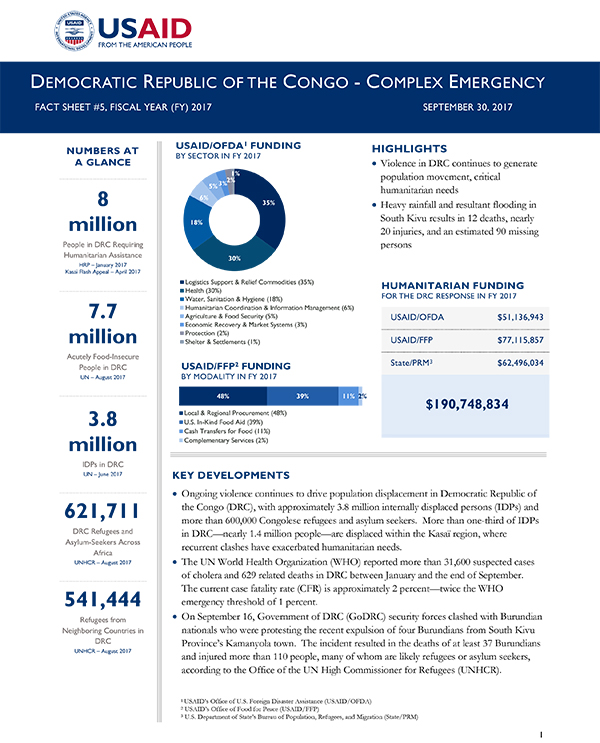 Democratic Republic of the Congo Complex Emergency Fact Sheet #5 - 09-30-2017