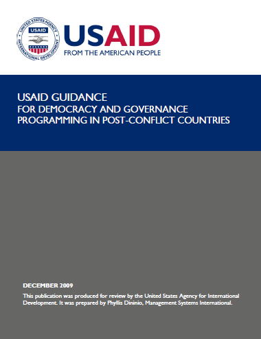 USAID Guidance for Democracy and Governance Programming in Post-Conflict Countries
